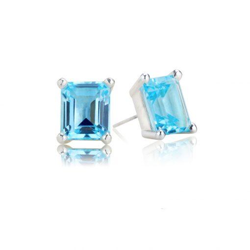 Big Rock Sky Blue Topaz Stud Earrings